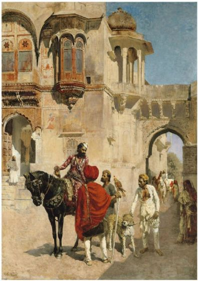 Weeks, Edwin Lord: Departure for the Hunt in the Forecourt of a Palace of Jodhpore. Fine Art Print/Poster. Sizes: A4/A3/A2/A1 (003298)